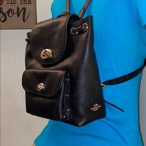 Authentic Coach Mini Pebbled turn lock Backpack